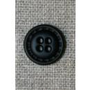 4-huls knap i læder-look sort, 15 mm.