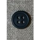 Lille støvet mørkeblå 4-huls knap, 12 mm.