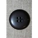4-huls knap mørk grå-brun/koks, 22 mm.