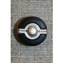 Knap sort/gl.sølv, 15 mm.