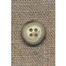 4-huls knap meleret creme/brun/lysegrå, 15 mm.