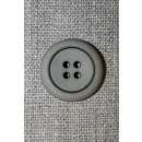 4-huls knap grå-brun m/sort kant, 20 mm.