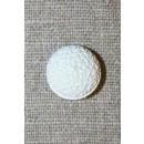 Hvid rund knap m/mønster, 15 mm.