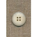 4-huls knap i off-white perlomors-look m/sort kant, 18 mm.