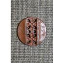 Plastknap i kobber-look m/hulmønster, 15 mm.