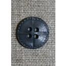4-huls knap i læder-look, grå 15 mm.