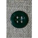 Lille flaskegrøn 4-huls knap 11 mm.