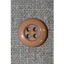 Lysebrun 4-huls knap, 14 mm.