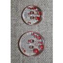 2-huls knap m/prikker klar/rød i 2 str.