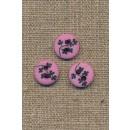 Pink/rosa 2-huls knap m/sorte grene, 13 mm.