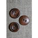 Lille brun 2-huls træ-knap, 13 mm.