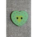 Hjerte træ-knap grøn, 18 mm.