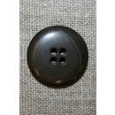 4-huls knap meleret grå-brun/sort, 22 mm.