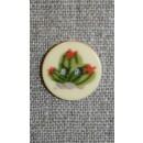 2-huls knap creme m/kaktus grøn/rød, 18 mm.