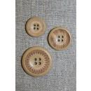 4-huls træ knap med mønster og kant i beige, 23 mm