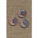 2-huls knap meleret og blank i beige og pudder, 15 mm.