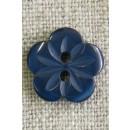 Blomster knap i mørk blå/petrol, 15 mm.