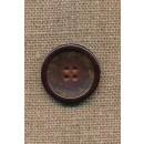 4-huls knap brun meleret med brun kant, 23 mm.