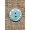 Knap med hjerte i lys blå, 15 mm.