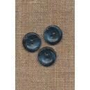 Recycled meleret 2-huls plast knap i mørkeblå og denim 15 mm.
