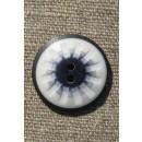 2-huls knap mønstret i hvid sort denim 25 mm.