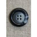Blå meleret 4-huls knap, 25 mm.