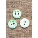 2-huls knap i hvid/lysegrøn, I love papa & mama, 12,5 mm.