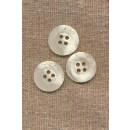 Hvid/offwhite krakeleret 4-huls knap 18 mm