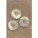 Hvid/offwhite krakeleret 4-huls knap 20 mm