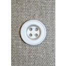 4-huls mat sølv-knap, 15 mm.