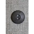 Brun 2-huls knap, 15 mm.