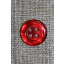 Rød blank 4-huls knap, 12 mm.