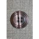 4-huls knap m/cirkel, pudder-brun