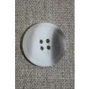 4-huls knap hvid/klar/grå-brun 18 mm.