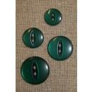 Blank 2-huls knap flaskegrøn, 16 mm.