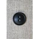 Sort 2-huls knap, 15 mm.