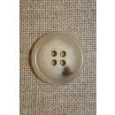 Off-white knap m/brun plet, 18 mm.