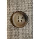 4-huls knap beige/brun 15 mm.