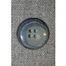 Meleret 4-huls knap lys grå/koks, 22 mm.
