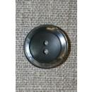 Koksgrå 2-huls knap m/blank kant
