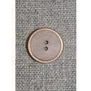 Lysebrun/beige 2-huls knap, 15 mm.