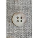Off-white/lysebrun meleret 4-huls knap, 13 mm.