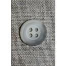 Grå-meleret 4-huls knap, 15 mm.