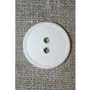 Knækket hvid 2-huls knap, 20 mm.