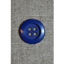 Klar blå 4-huls knap, 18 mm.