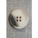 4-huls knap off-white/creme/brun, 22 mm.