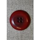 Mørk rød-meleret 4-huls knap, 22 mm.