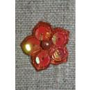 Lille blomst m/perle/palietter, rust/brændt orange