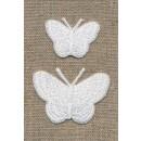Strygemærke m/2 sommerfugle, hvid