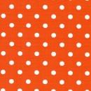 Bomulds-poplin m/hvide prikker, orange